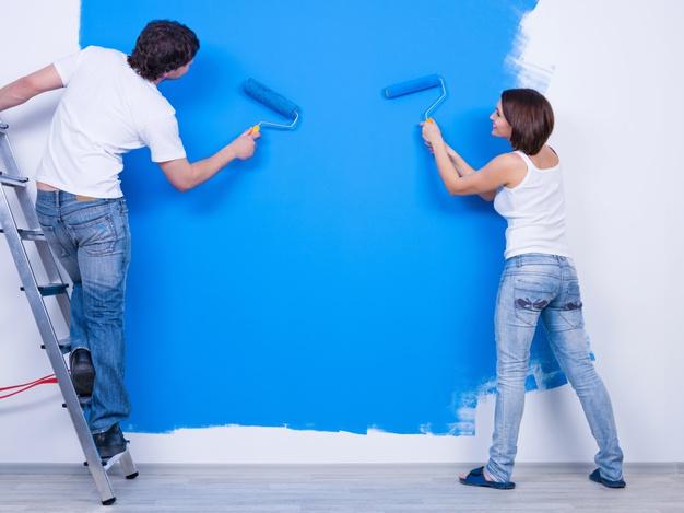 blå vægge
